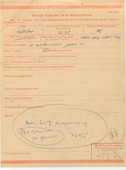 Photo:Report Centre message form concerning the church of St Anne, Soho, (bomb incident number 457), 24 Sep 1940