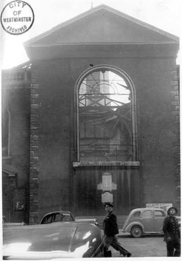 Photo:Black and white photograph of St Anne's Church, Dean Street, Soho, (bomb incident bomb number 290), 7 Oct 1940