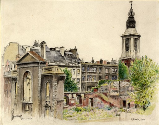Photo:View of the Church of St Anne, Soho, watercolour by R G Mathews, Aug 1945