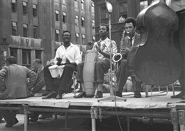 Photo:Jazz band at the 1955 Soho Fair. Photograph by Dennis Parr