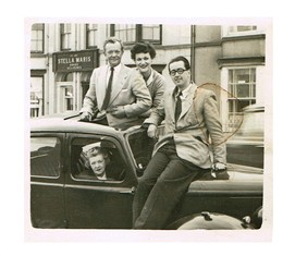 "Photo:Bobby Howes who came to North Wales to star in a play called ""Harvey"",me and  David Johnstone ; the lady in the car was Bobby's sister."